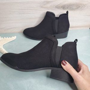 New! Black Suede Side V Cut Ankle Bootie